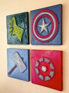 Avengers String Art Wall Hangings by halftonehandicrafts. For my Avengers-loving friends Fun Crafts, Diy And Crafts, Arts And Crafts, Arte Linear, Nail String Art, The Avengers, Avengers Room, Avengers Poster, Avengers Characters