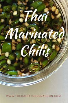 Easy and delicious Thai Marinated Chili recipe for canning. Best garnish over Asian dishes. Thai Chili Pepper Recipe, Chili Canning Recipe, Canning Recipes, Hot Sauce Recipes, Spicy Recipes, Indian Food Recipes, Asian Recipes, Appetizer Recipes, Green Chili Recipes