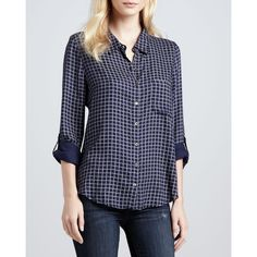 Anabella Plaid Tab-Sleeve Blouse - Soft Joie found on Polyvore   #SummerAutumn #SoftSummer #style #natural #classic