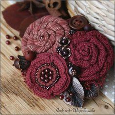 """Купить Брошь текстильная """"Пряная вишня"""" - бордовый, бордовая брошь, брошь букет, брошь с цветами"""