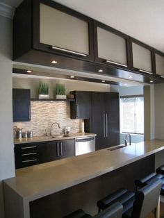 Great way to add storage in small spaces. Cabinets attached to a bulkhead or dropped ceiling.