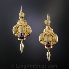 Browse vintage earrings from simple antique diamond studs to gem-encrusted chandelier earrings. Browse our full collection online today. Garnet Jewelry, Amethyst Earrings, Gold Jewelry, Jewelery, Jewelry Necklaces, Women Jewelry, Victorian Gold, Victorian Jewelry, Antique Jewelry
