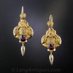 -Victorian Garnet Acorn Earrings