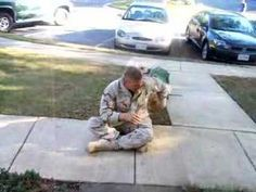 Soldier reunited with dog after deployment to Afghanistan.