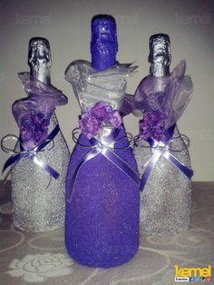 Decoração de garrafa para um casamentos www.facebook.com/kemeleventos