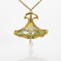 Art Nouveau plique a jour enamel on gold pendant with teardrop pearl held by a small diamond.