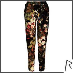 #RihannaforRiverIsland Black Rihanna floral velvet joggers. #RIHpintowin click here for more details >  http://www.pinterest.com/pin/115334440431063974/
