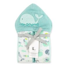 Just Bath by Just Born™ Size 0-9M Under the Sea Hooded Towel Wrap in Sea Glass - buybuyBaby.com