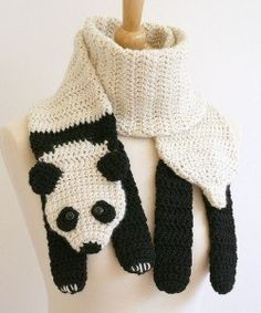 Crochet Animal Scarf - Panda Crochet Scarf