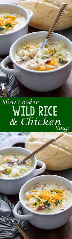 Our favorite warm me up! Best soup! Slow Cooker Creamy Chicken Bacon Broccoli & Cheddar Wild Rice Soup