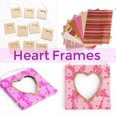 Personalised hanging frames, a perfect craft for valentine's day Valentine Crafts For Kids, Valentines Day, Hanging Frames, Heart Frame, Nursery, Children, Gifts, Valentine's Day Diy, Young Children