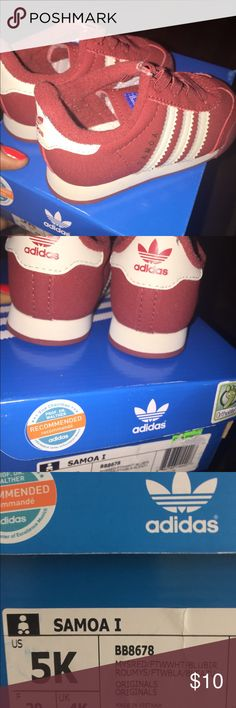 Samoa Addidas Kids Shoe This are a white and burgundy kids Adidas .  They have been gently loved. adidas Shoes Sneakers
