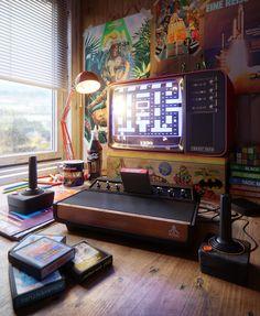 Atari retro gamer room How cool is this retro gaming atari bedroom? Classic Video Games, Retro Video Games, First Video Game, Video Game Art, Mundo Dos Games, Retro Videos, Game Room Design, Game Room Decor, Retro Gamer