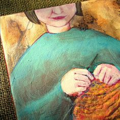 woman knitting painting - Buscar con Google