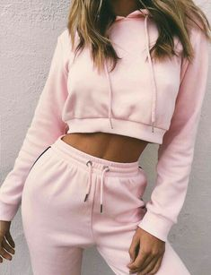 1 Set Women Ladies Tracksuit Crop Hoodies Sweatshirt With Hat Long Pants Sets Leisure Wear Casual Suit Pink Sweatshirt With Plaid Mini Skirt is the best How To Wear Fashion Girl Sporty Outfits, Pink Outfits, Mode Outfits, School Outfits, Cute Comfy Outfits, Fitness Outfits, Workout Outfits, Teen Fashion, Fashion Outfits
