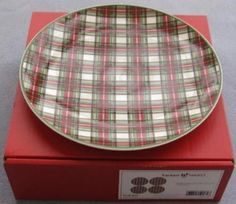 FOUR Nikko Tartan Christmas Plaid Salad Plates NIB