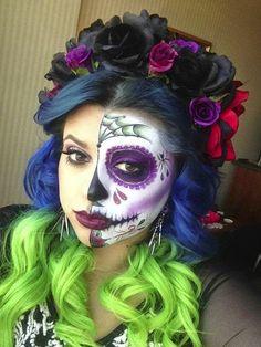 56 Newest Sugar Skull Makeup Creations To Win Halloween - Halloween Makeup Sugar Skull, Sugar Skull Makeup, Halloween Kostüm, Halloween Costumes, Sugar Skulls, Pretty Halloween, Vintage Halloween, Maquillage Sugar Skull, Fantasias Halloween