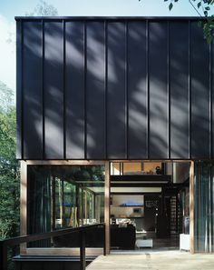 A pavilion near the forest is the English name of this beautiful building in the woods [by] Brussels based architecture firm Stekke + Fraas External Wall Cladding, Zinc Cladding, House Cladding, Residential Architecture, Contemporary Architecture, Interior Architecture, Loft Design, House Design, Victoria Apartments