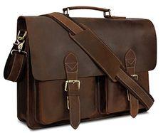 Kattee Real Leather Laptop Satchel Briefcase Shoulder Handbags for Men Vintage Leather Messenger Bag, Handmade Leather Wallet, Messenger Bag Men, Crossbody Messenger Bag, Satchel Bag, Laptop Briefcase, Briefcase For Men, Leather Briefcase, Leather Satchel