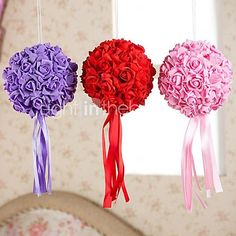 6 Inch Foam Santin Artifiical Kissing Rose Flowers Balls Wedding Bouquet Car Decoration - USD $6.99