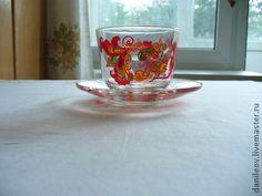 чашка `Лето красное`. Роспись в народном стиле. Яркость красок напомнили лето-так и родилось название. Сервиз из чашек и чайника порадует вас за чаепитием в саду... 'Почти что лето-можно бы поесть в саду...
