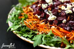 roasted beet & arugula salad with balsamic dressing from Brenda of a farmgirl's dabbles Health Salad Recipes, Best Salad Recipes, Vegetarian Recipes, Healthy Recipes, Salad With Balsamic Dressing, Superfood Salad, Roasted Beets, Soup And Salad, Chopped Salads