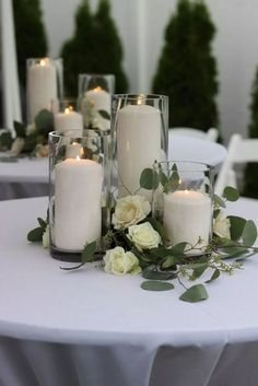 White wedding decorations - 20 Romantic Wedding Centerpieces With Candles – White wedding decorations Floral Wedding, Fall Wedding, Diy Wedding, Rustic Wedding, Dream Wedding, Wedding Ideas, Wedding Pastel, White Wedding Flowers, Wedding White