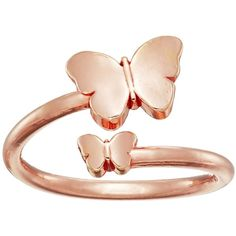 Alex and Ani Ring Wrap Butterfly (Rose Gold) Ring ($28) ❤ liked on Polyvore featuring jewelry, rings, rose gold rings, pink gold rings, butterfly ring, red gold ring and adjustable rings