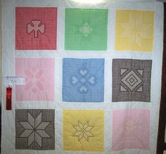 Free Chicken Scratch Quilt Pattern | This is a quilt done with different chicken scratch patterns. Thought ...
