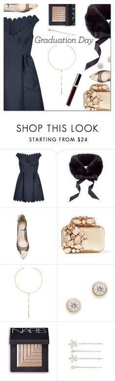 """Congrats, Grad: Graduation Day Style"" by danielle-487 ❤ liked on Polyvore featuring RED Valentino, Jimmy Choo, Chan Luu, Adina Reyter, NARS Cosmetics, Cara and Graduation"