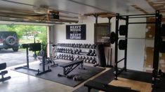 Trendy home gym room decor treadmills Home Gym Garage, Diy Home Gym, Gym Room At Home, Home Gym Decor, Basement Gym, Crossfit Garage Gym, Workout Room Home, Workout Rooms, Dream Home Gym