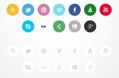 Más iconos redes sociales planos suaves