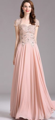 Carlyna Blush Beaded Evening Formal Gown