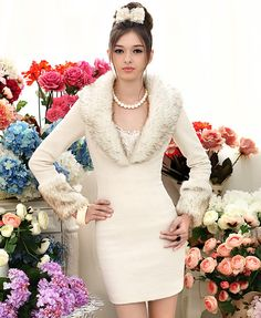 Elegant White Fur deep V-collar Long Woolen Coat