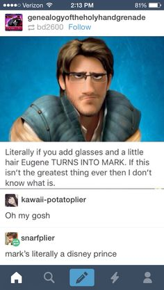 FLYNN RIDER WAS MADE BY FEMALES ONLY AND WAS SUPPOSED TO BE THE MOST ATTRACTIVE DISNEY PRINCE AND HE ENDED UP AS MARKS DOPPELGANGER