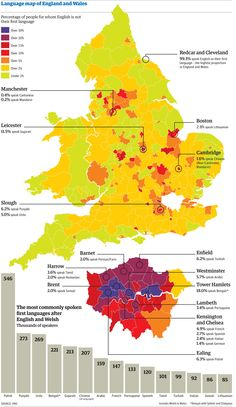 """New data published as part of the Census 2011 for England & Wales shows how Polish has become the second most-spoken language in the country. Here's how Christine Oliver visualised that data for the Guardian,"" wrote Simon Rogers Map Of Britain, Great Britain, How To Speak Chinese, British Isles, Data Visualization, The Guardian, Uk Culture, Infographic, Illustrated Maps"