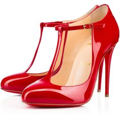 Christian Louboutin Tpoppins ($745) ❤ liked on Polyvore featuring shoes, pumps, heels, christian louboutin, louboutin, red, heels stilettos, high heel stilettos, red patent pumps and round toe pumps