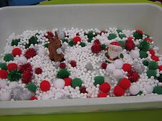 Sensory bin idea for the holiday. For older kids, hide holiday words inside that they have to find.