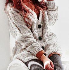 comfy light grey chunky knit!