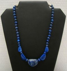 "JAY KING MINE FINDS DTR BLUE LAPIS BEAD NECKLACE 925 STERLING SILVER 18"" - 21"" #JayKing #StrandString"