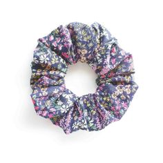 BLUE and FLORAL. Hair Scrunchy or Scrunchie. Blue Floral by Smukie