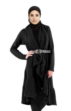 Cyma Long Black Belted Sweater Jacket - Islamic Modest Clothing at Artizara.com