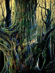 "Serigraph entitled ""Ancient Tree"", printed on Pacifica BW paper. Print is x published in By American artist Eyvind Earle, born died July Ancient Tree, Eyvind Earle, Artist Inspiration, Serigraph, Ancient, Tree Painting, Painting, Michelangelo Sculpture, Art"