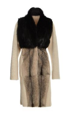 Mixed White Shearling And Mink Coat by Inès & Maréchal for Preorder on Moda Operandi