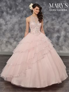 Mary's Quinceanera Tulle quinceanera halter ball gown features basque waisted bodice with beading detail, jewel neck line, keyhole, tiered skirt with sequin t Sweet 16 Dresses, 15 Dresses, Fashion Dresses, Formal Dresses, Wedding Dresses, Quinceanera Party, Quinceanera Dresses, Quinceanera Collection, Mary's Bridal