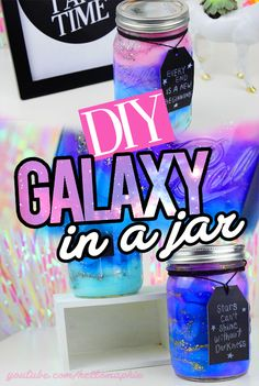 An extremely EASY to do DIY! Learn how to make a Galaxy in a Jar with stuff you already have in your home! This DIY costs me NOTHING because I already had everything! - Diy For Teens Cute Crafts, Crafts To Do, Crafts For Kids, Cool Diy, Easy Diy, Clever Diy, Diy Galaxie, Do It Yourself Baby, Decoration Originale