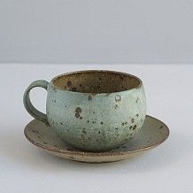 Japanese Stoneware Cup and Saucer / Turquoise and Natural Specks