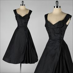 vintage 1950's party dress . SEYMOUR JACOBSON . black silk . 3870 by millstreetvintage on Etsy https://www.etsy.com/listing/210666184/vintage-1950s-party-dress-seymour