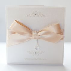 Bow Invitation with Swarovski Crystal Heart - Vintage Wedding Stationery Scotland - VOWS Award Nominee 2013