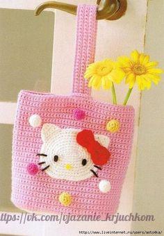Delicadezas en crochet Gabriela: Bolsa Hello Kitty
